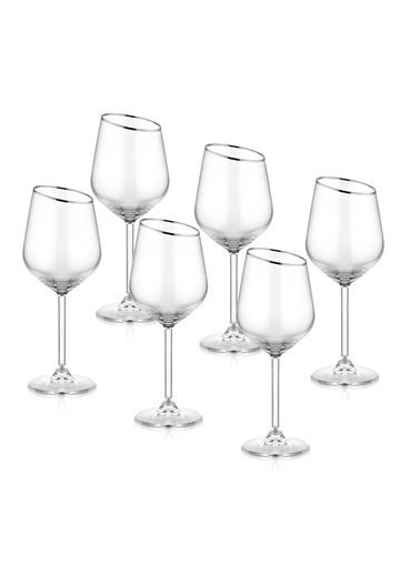 The Mia Gina Şarap Kadehi 6 Lı Set  - Gümüş Gümüş
